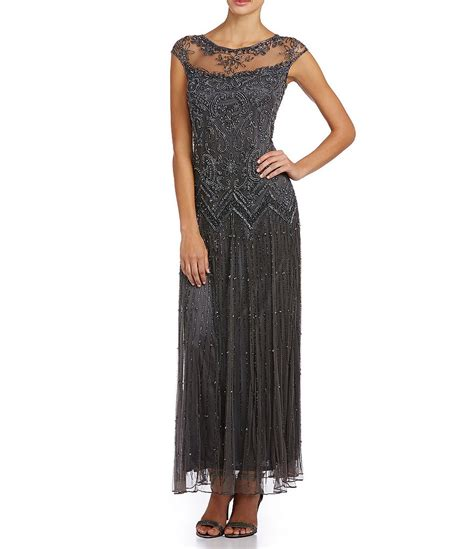 beaded gown pisarro nights beaded illusion gown dillards