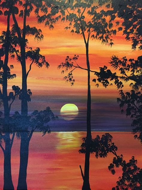 paint nite at home 40 easy and simple landscape painting ideas