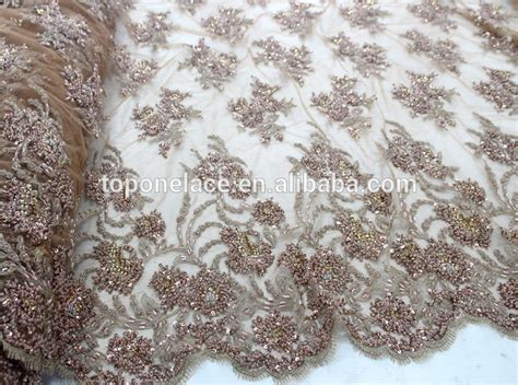 beaded fabric wholesale 2016 china suppliers textile tulle beaded lace fabric