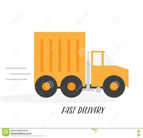 orange delivery orange delivery truck flat vector illustration isolated