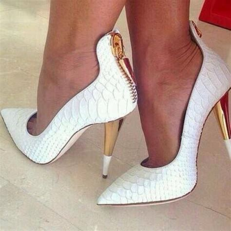 Tartan Carpets by Brand Name Women High Heels Shoes White Fish Skin Gold