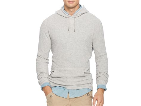 knitted hoodies pink pony polo waffle knit hoodie in gray for lyst
