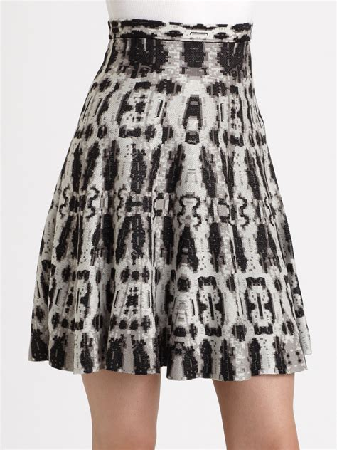 white knit skirt bcbgmaxazria snake print knit skirt in white black white