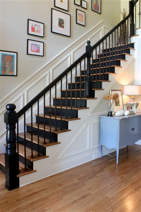 black staircase painted black risers traditional staircase other