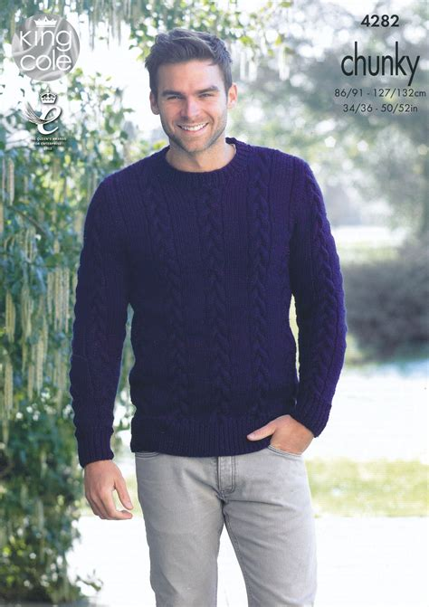 mens sweater knitting pattern mens chunky knitting pattern king cole cable knit sweater
