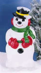 plastic outdoor decorations icy snowman with hat lawn and garden