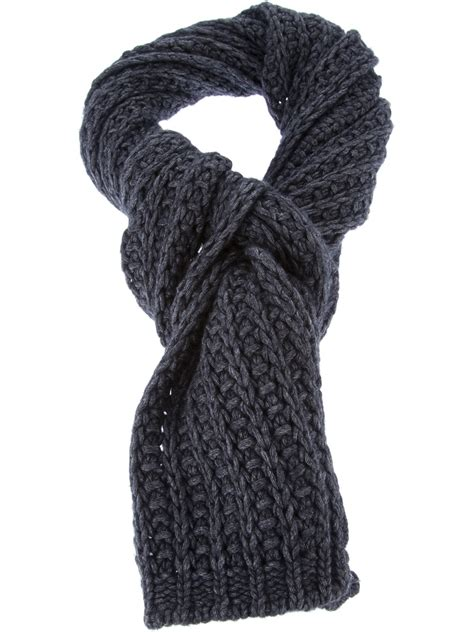 chunky knit scarf moncler chunky knit scarf in gray lyst