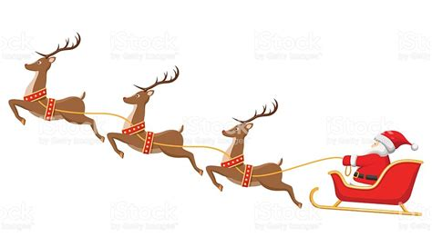 santa and reindeer sleigh santa on sleigh and his reindeers isolated white