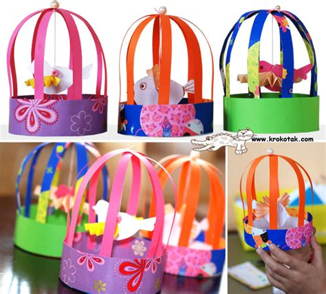 paper bird cage craft krokotak paper bird