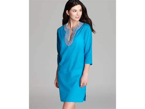 beaded swim cover up echo solid beaded swim coverup tunic in blue turquoise