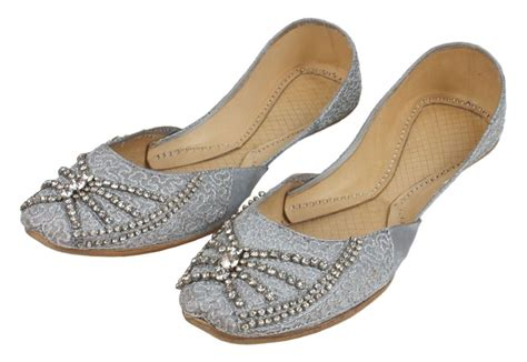 beaded khussa shoes womens evening dress beaded silver indian leather khussa