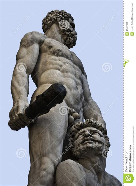 Greek God Statues hercules and cacus sculpure florence stock photo image