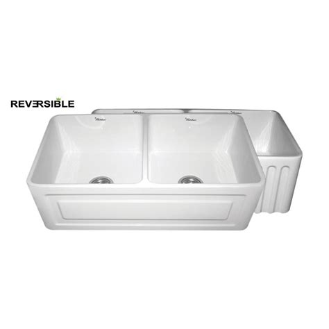 apron front kitchen sink white shop whitehaus collection farmhaus 18 in x 33 in white