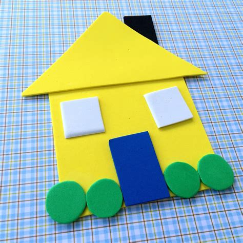 building crafts for family shape house educational craft