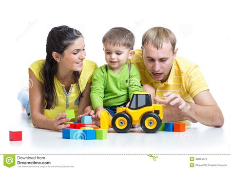 family play kid with his parents play building blocks toys stock image