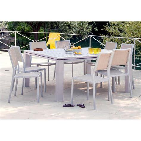 table de jardin carr 233 e fiero en aluminium 160x160x74cm gr 232 ge proloisirs