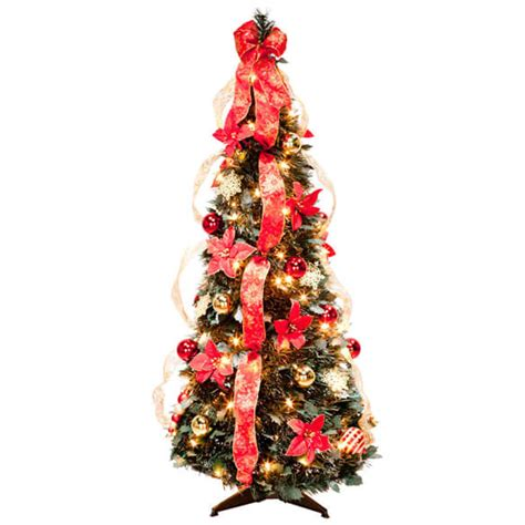 pull up pre lit tree pull up fully decorated prelit poinsettia tree walter