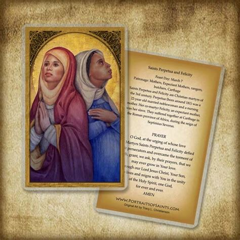 wooden sts for card saints perpetua and felicity holy card or wood magnet 0153