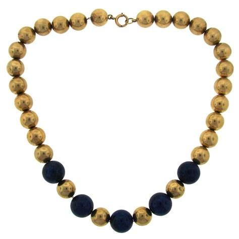 gold bead necklace 1960s and co lapis lazuli yellow gold bead