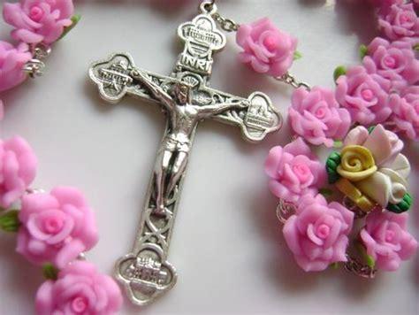 pink rosary haandmade pink soft cerami rosary cross