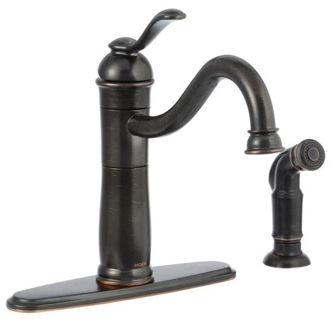 bronze faucets for kitchen moen walden single handle standard kitchen faucet with side sprayer and microban protection in