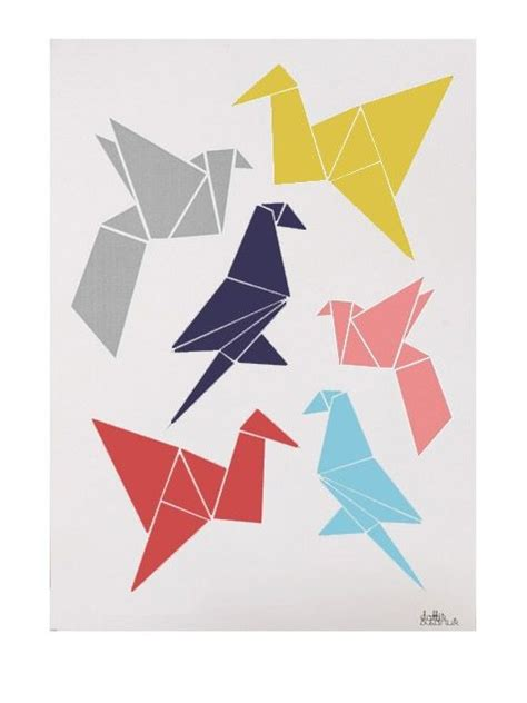 origami poster origami birds poster 50x70cm for the wall