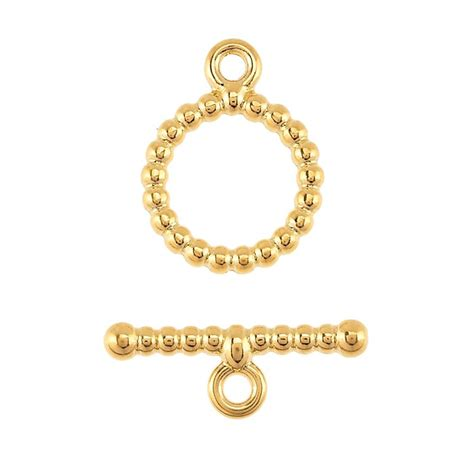 beaded toggle clasp 14k yellow gold beaded toggle clasp