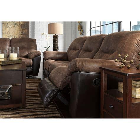 two tone reclining sofa signature design follett two tone faux leather