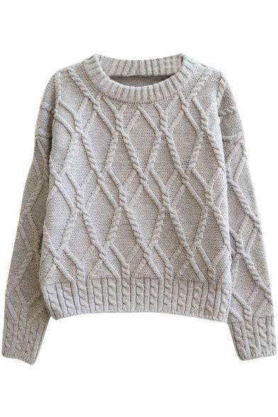 cable knit sweater pattern plain geometrical pattern cable knitted thick crop sweater