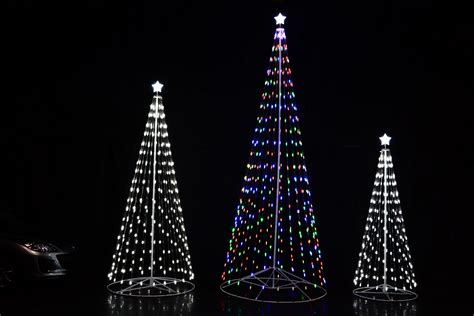 led cone tree 108 9 ft outdoor white led cone tree w collapsible base