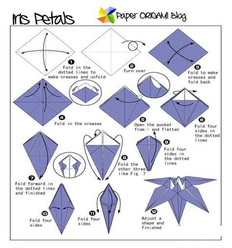 how to fold an origami flowers origami iris flowers paper origami guide