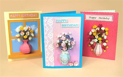 3d cards to make card templates for 3d vase greeting card