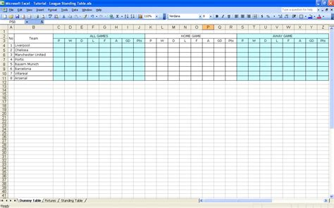 March Madness Standing by Create Your Own Soccer League Fixtures And Table Excel
