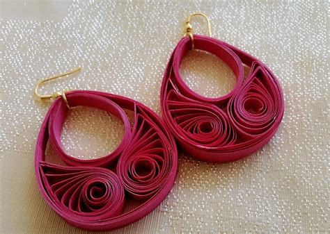 paper craft earrings papercraft silk thread chandbali made with quilling
