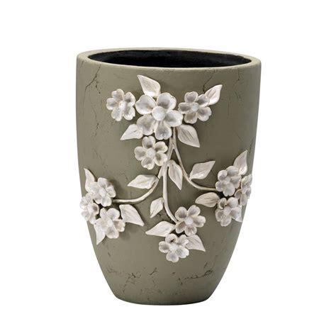 large ceramic planter large sculpted ivory flower ceramic applique outdoor