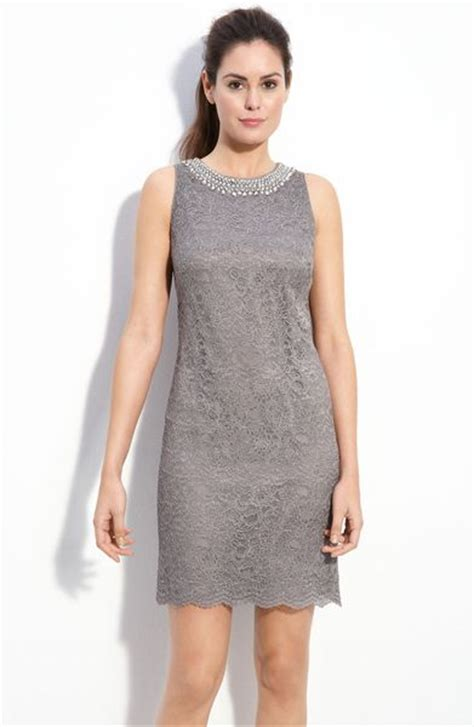 gray beaded dress maggy beaded lace shift dress in gray grey lyst