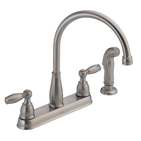 delta kitchen faucet sprayer repair delta foundations 2 handle standard kitchen faucet with side sprayer in stainless 21988lf ss