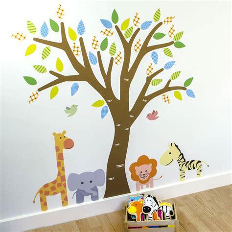 jungle tree wall stickers jungle tree fabric wall sticker by mirrorin
