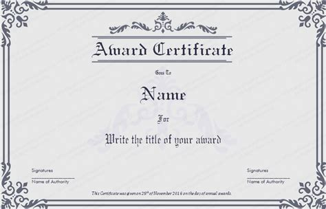 dignified award certificate template get certificate