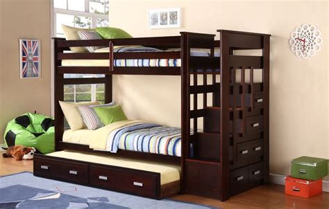 bunk beds with stairs and trundle bunk bed with trundle espresso stairway bunk bed with