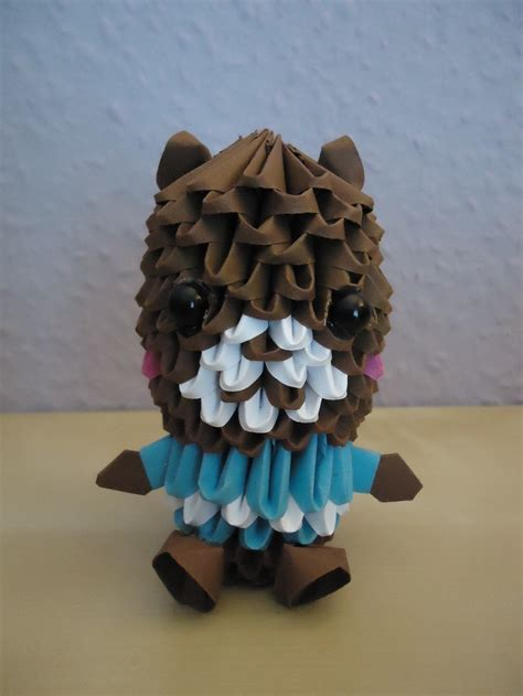 3d origami teddy 3d origami teddy w striped shirt 1 by mixowelle