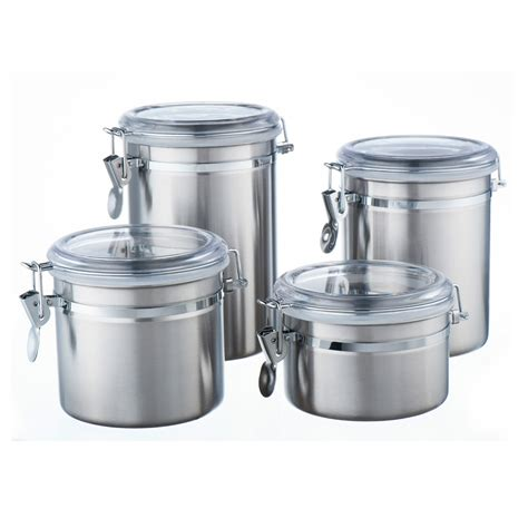 set of 4 stainless steel s s canister tea coffee sugar