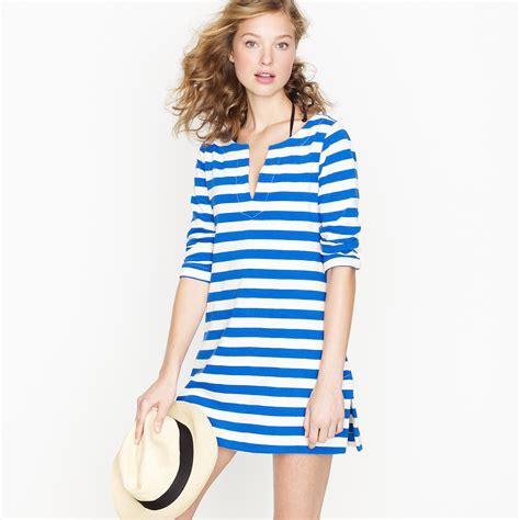 knit tunic dress j crew knit tunic dress in stripe in blue lyst