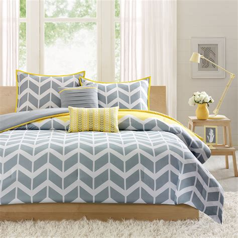 yellow and white bedding sets yellow and gray chevron bedding