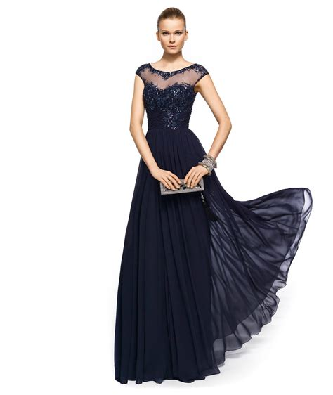 Navy Blue Beaded Evening Gown For Bridesmaid Or Mob