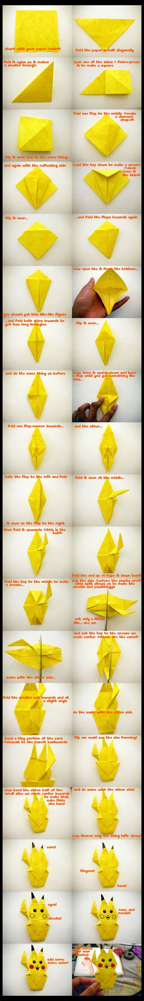 how to make a 3d origami pikachu how to make an origami pikachu bit rebels