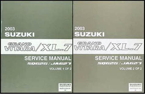 2003 suzuki grand vitara xl 7 repair shop manual set original