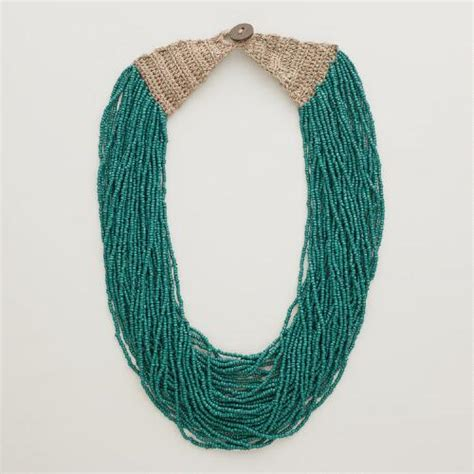 multi strand bead necklace teal multi strand seed bead necklace world market