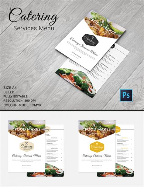 catering menu template 30 free psd eps documents