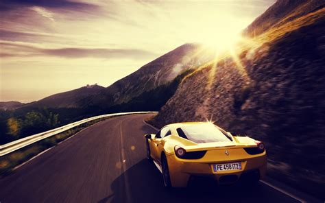 Car Sunset Wallpaper by Car Sunset Yellow Cars Road Wallpapers Hd